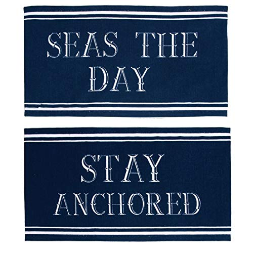 Dennis East Set of 2 Nautical Sayings Navy Blue Pillow Wraps, Stay Anchored, Seas the -
