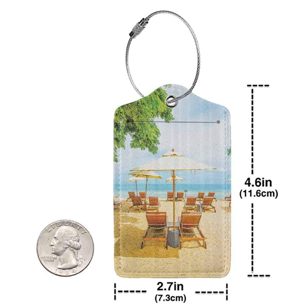 Durable luggage tag Seaside Decor Collection Umbrella and Chairs on Tropical Beach Summer Vacation Destination Image Print Unisex Goldenrod Ivory Blue W2.7 x L4.6