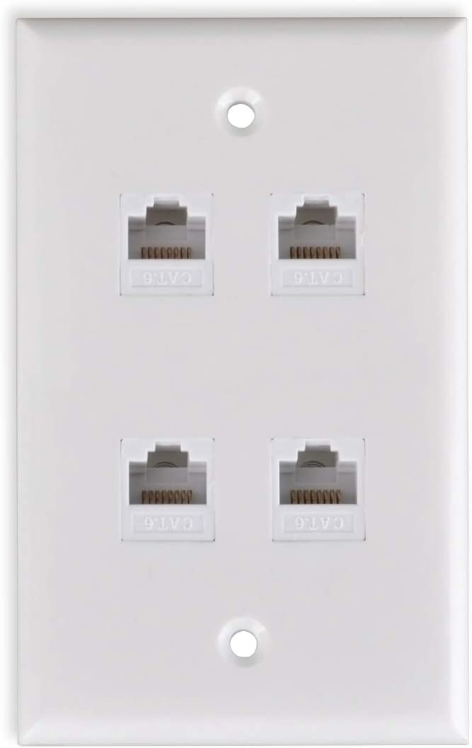 HTTX White 4-Port CAT6 Wall Plate with Removable F//F RJ45 Punch Down Keystone Jack Inserts Ethernet Wall Plate