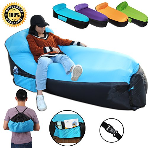 Inflatable Lounger Big Sofa with Portable Carry Bag Air Lounger Inflatable Bag Fast Inflate Air Sofa Outdoor Inflatable Lounger Couch for Travelling Camping Park Hiking Pool Beach (Big Blue Sofa)