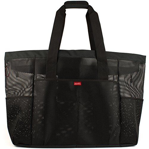 Oahu XXL Mesh Beach Bag Tote, Extra Heavy Duty with Zipper, 8 Large Pockets and FREE Bonus Waterproof Cellphone Case (Black)