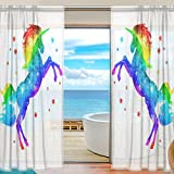 SEULIFE Window Sheer Curtain, Rainbow Unicorn Animal Star Voile Curtain Drapes for Door Kitchen Living Room Bedroom 55x78 inches 2 Panels