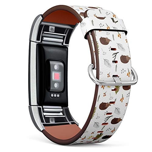 Compatible with Fitbit Charge 2 - Replacement Accessory Leather Band Strap Bracelet Wristbands with Adapters (Cartoon Character Cute Hedgehog Forest)