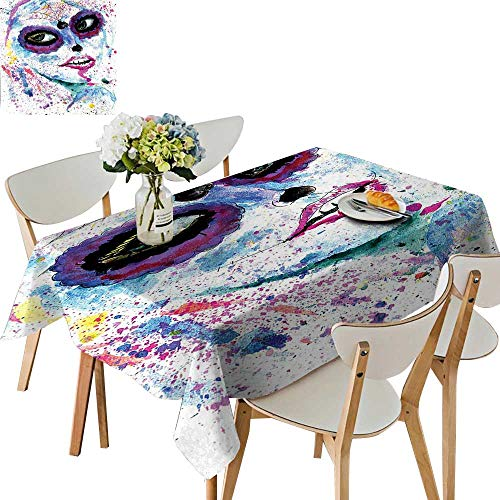 UHOO2018 Solid Tablecloth Halloween Lady with Sugar Skull Make Up Creepy Dead Face Gothic Woman Square/Rectangle Spillproof Fabric Tablecloth,50 x 72inch