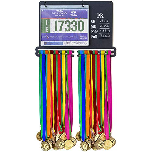Medal Holder for Runners - Medal Display Rack with Holders for Race Bib & Award Ribbon - Running Medal Hanger with Chalk Notes Area & 20 Bib Sleeves for Marathon Runners