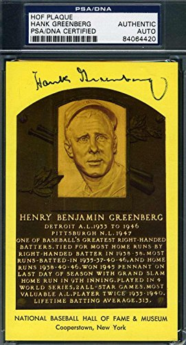 Mlb Card Plaques (HANK GREENBERG COA Autograph Gold HOF Plaque Hand Signed Authentic - PSA/DNA Certified - MLB Autographed Baseball Cards)