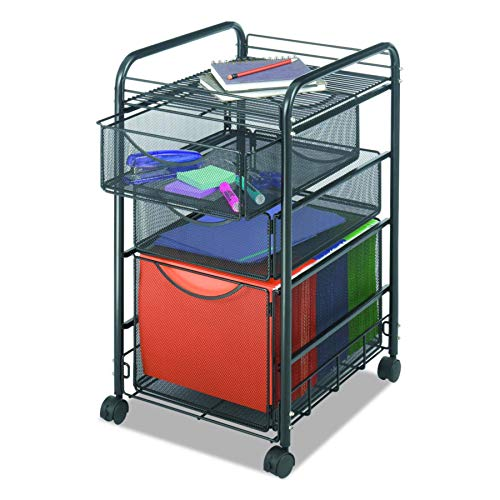 Safco Products Onyx Mesh 1 File Drawer and 2 Small Drawers Rolling File Cart 5213BL, Black Powder Coat Finish, Durable Steel Mesh Construction, Swivel Wheels For Mobility -
