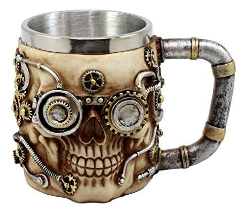Ebros Gift Silver Steampunk Detective Skull Coffee Mug Mechanical Gearwork Pipeline Design Beer Stein Tankard Drink Cup 14oz (Skull Stein)