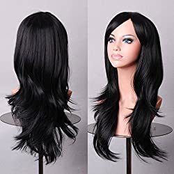 Anime Cosplay Synthetic Wig 11 Colors Japanese Kanekalon Heat Resistant Fiber Full Wig with Bangs Long Layered Curly Wavy Vogue 23'' / 58cm for Women Girls Lady Fashion and Beauty (black)