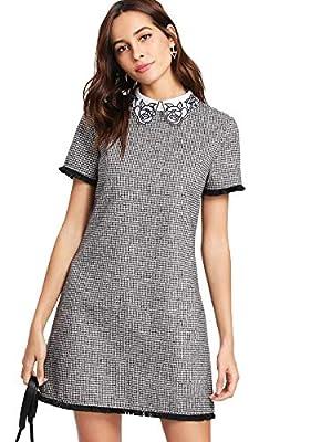 Floerns Women's Perter Pan Collar Short Sleeve Plaid Shift Tunic T-Shirt Dress