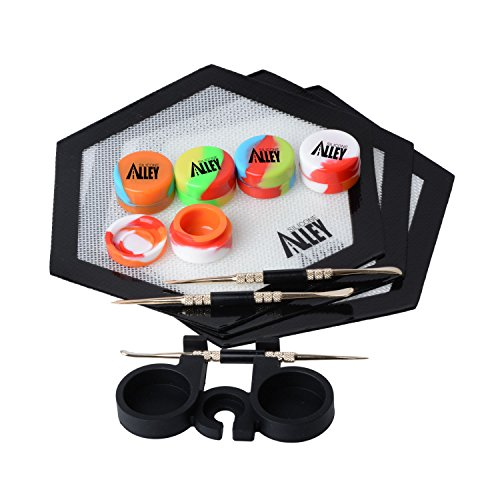 SILICONE ALLEY FULL HEX SET 3 Carving Tools + 3 Hexagon Mats + 5 Premium Wax Jar Containers (5ml) + 1 Container Holder ()