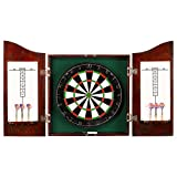 Dartboard Cabinet Hathaway Centerpoint Solid Wood Dartboard and Cabinet Set, Dark Cherry Finish