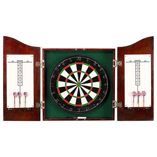 Hathaway Centerpoint Solid Wood Dartboard and Cabinet Set, Dark Cherry Finish (Bristle Dartboard Wood Cabinet)