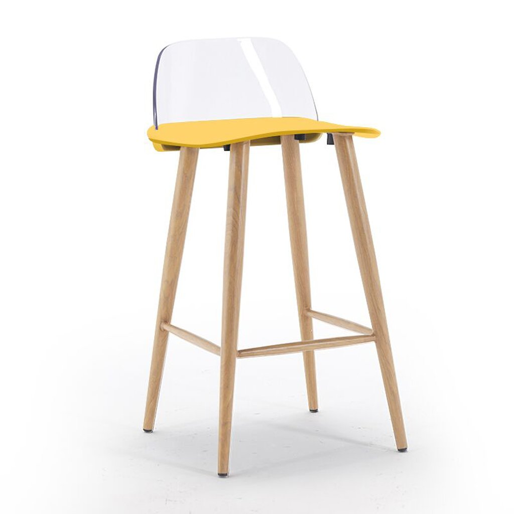 Bright yellow Bar Chair Household high Stool + 79.5cm -by TIANTA (color   RED)