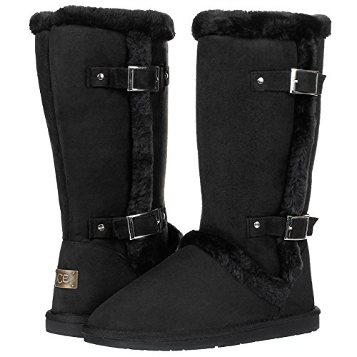 Faux Suede Buckle (Women's Twin Buckle Fully Fur Lined Faux Suede Sheepskin Winter Snow Boots (10, Black))