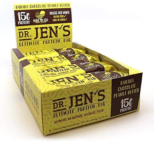 Dr. Jen s Ultimate Protein Bar Banana Chocolate Peanut Butter Flavor 12 Count