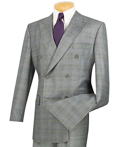 Vinci Men's Glen Plaid Double Breasted 6 Button Classic-Fit Suit New [Color Gray | Size: 50 Regular/45 (Men Designer Suits)