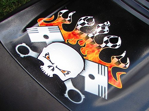 Hood Decal - PistonHead Torched Checkered Flag version - for John Deere & all riding ride on lawn garden mower tractor racing (Lawn Racing Mower Stickers)