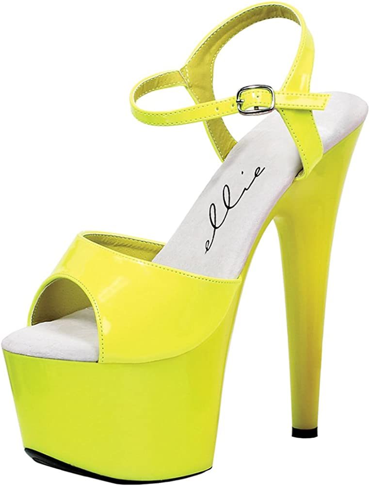 Summitfashions Bright and Bold Neon Yellow Sandals with 7 Inch Heels Womens Platform Heels