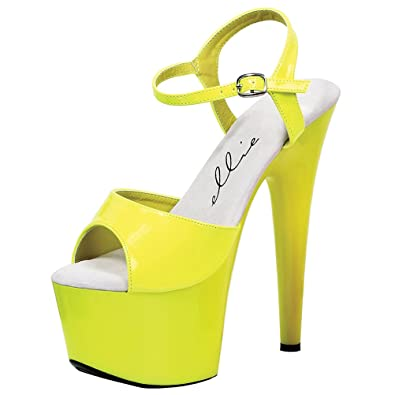 b970ccd80 Summitfashions Bright and Bold Neon Yellow Sandals with 7 Inch Heels  Women's Platform Heels Size: