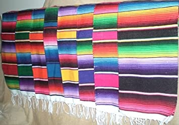 Mexican Serape Blanket Table Runner Decor You Choose Color (Assorted)
