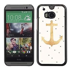 TopCaseStore / la caja del caucho duro de la cubierta de protección de la piel - Polka Dot Gold Beige Sailor Seaman - HTC One M8