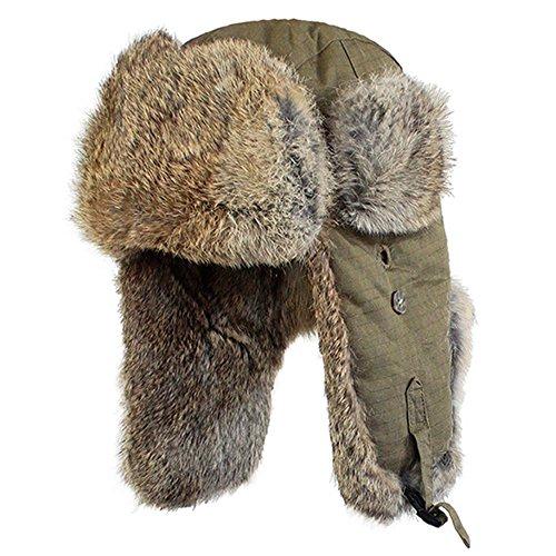 Kenmont Winter Warm Women Ski Cotton Real Rabbit Fur Earflap Aviator Hat Bomber Cap