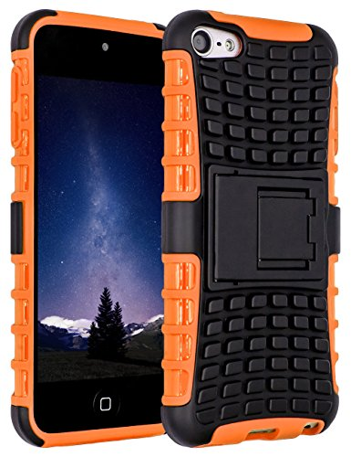 iPod Touch 6 Case,iPod Touch 5 Case, SLMY(TM) Heavy Duty Dual Layer Shockproof / Impact Resistance Hybrid Rugged (Ipod Touch Orange)
