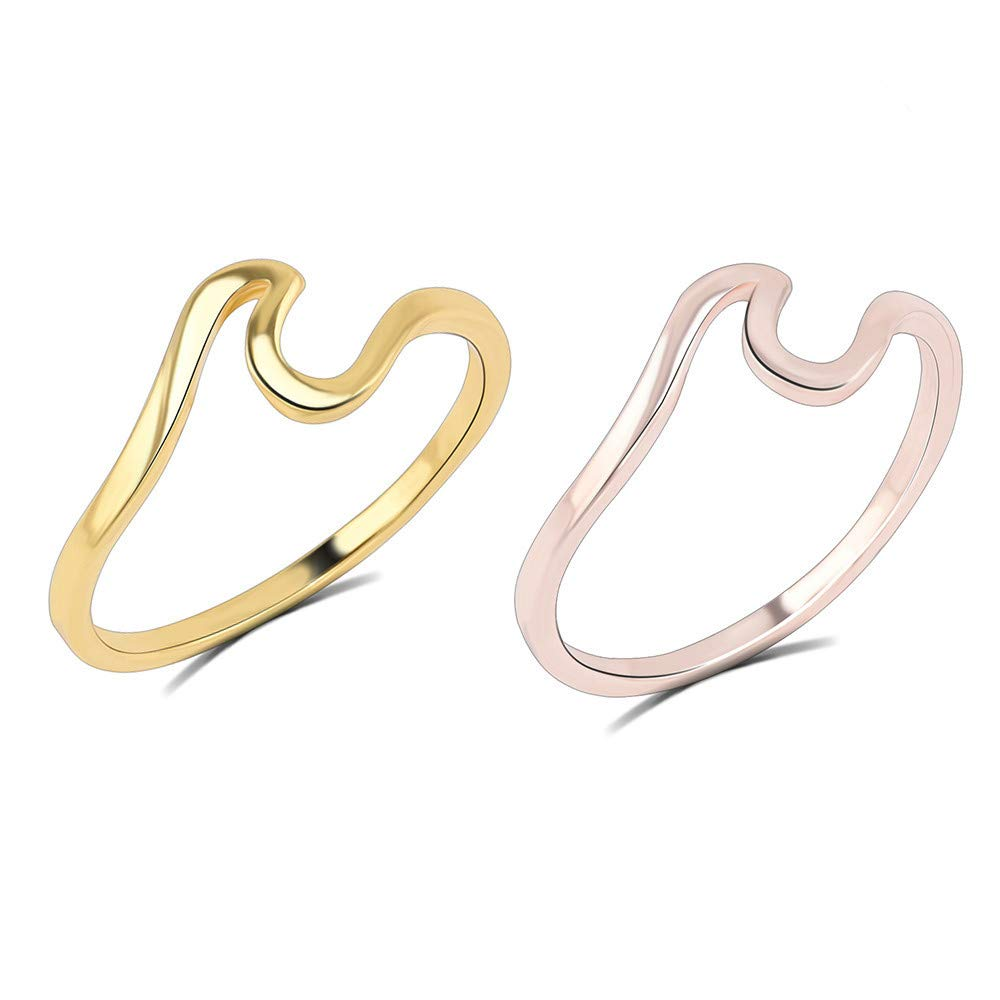 Amazon.com: JEWH Fashion Women Ring - Simple Metal Wave Rings - Mix Colors Beach Lovers Ring - Simple Lovely Jewelry for Girls - Beach Style (Gold Pink) ...