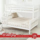 UEnjoy White Bunk Beds Triple Sleeper Bed Wooden Frame 3FT Top 4FT6 Base Furniture for Childrens Adults