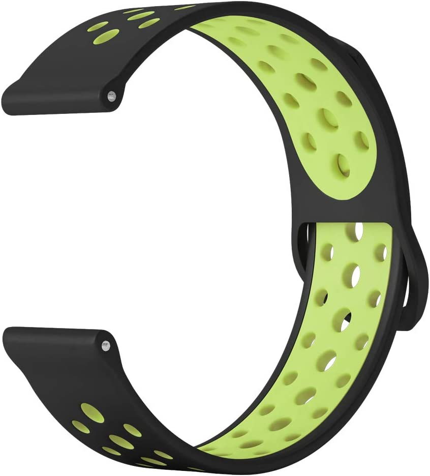 DDJOY 20mm Breathable Silicone Band Replacement Compatible with Garmin Vivoactive 3 Music Samsung Gear Sport Ticwatch 2/E Amazfit Bip Garmin Forerunner 645/Music Fossil Q Control