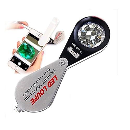 ZYT Téléphone Mobile Loupe Verre 30X Blanc / Violet Lumière 6 led lumières Bijoux Diamant Identification Outil