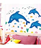 Decals Design 'Cartoon Dolphins Star Fish Underwater Creatures' Wall Sticker (PVC Vinyl, 90 cm x 60 cm),Multicolour