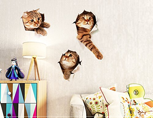 3D-Wall-Decals-Stickers-Vivid-Decors-Murals-Cat-for-Room-Home-Removable-Wall-Art-Decals-Wall-for-kids-Rooms-DIY-Home-Decoration