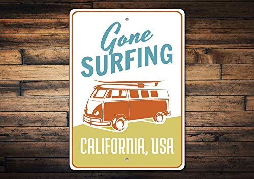 HarrodxBOX Van Sign Gone Surfing Sign Surfer Gift Beach House Decor Hippie Van Decor Custom Surfing Sign Surf Decor Decorative Metal Signs for Women Wall Post Tin Sign Present