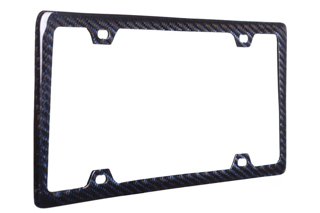 BLVD-LPF OBEY YOUR LUXURY  100% Real Blue Carbon Fiber License Plate Frame Slim 4 Holes With Matching Screw Caps - 1 Frame by BLVD-LPF OBEY YOUR LUXURY  (Image #1)