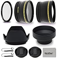 58mm Lens Accessories Kit with 58mm 2X Telephoto Lens Hood, 58mm Wide angle Lens, Lens Hood + more f/ For 58mm Lenses & Cameras including CANON EOS 80D 70D 6D Mark II EOS Rebel T7i T6s T6i T6 T5i T5