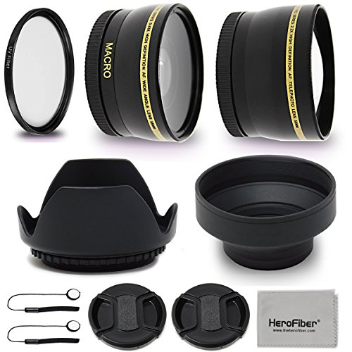 52mm Lens Accessories Kit with 52mm 2X Telephoto Lens Hood, 52mm Wide angle Lens, Lens Hood + more for For 52mm Lenses and Cameras including Nikon D5600, D850, D3400, D7500, D750, D500, D7200, D5500 by HeroFiber