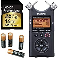 TASCAM DR-40 4-Track Portable Digital Recorder, 16GB Memory Card and Duracell AA Battery 4 Pack