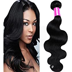 Cranberry Hair Unprocessed Brazilian Virgin Hair Body Wave 24 Inch One Bundle Virgin Human Hair Extensions Natural Black Color (100+/-5g)/pc ( One Bundle )