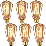 INNOCCY Edison Bulb Medium (E26) Standard Base Dimmable ST64 60W Vintage Light Bulb 2300K Warm White ,Pack of 6