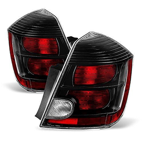 VIPMOTOZ For 2010-2012 Nissan Sentra OE-Style Black Bezel Tail Light Housing Lamp Assembly Replacement Driver & Passenger Side