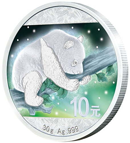 2016 CN frozen FROZEN CHINESE PANDA Aurora Rhodium Silver Coin 10 Yuan China 2016 Dollar Perfect Uncirculated