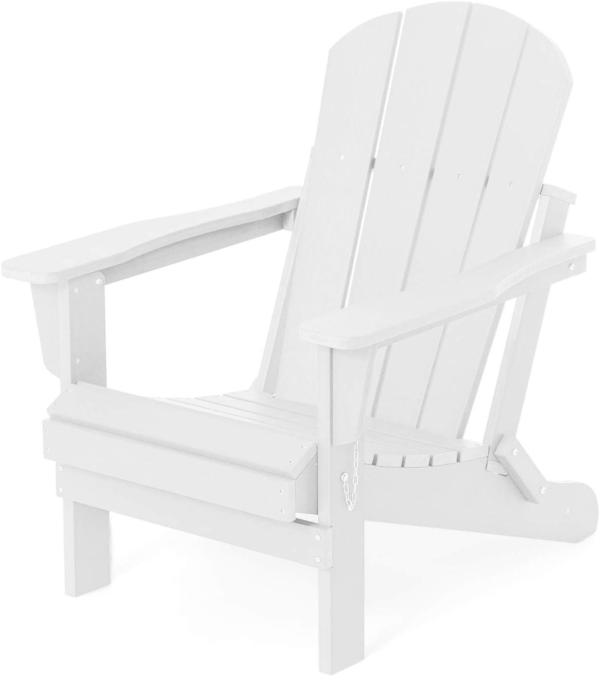 SERWALL Adirondack Chair for Patio Garden (Folding White)