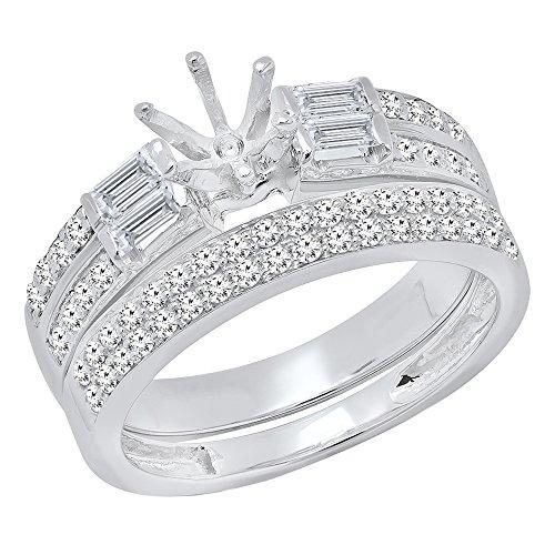 Dazzlingrock Collection 1.65 Carat (ctw) 14K Round & Baguette Diamond Semi Mount Engagement Ring Set, White Gold, Size 7