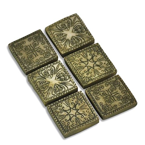 Set of 6 Fairy Garden - Ancient Square Stepping Stones - 1 Inch x 1Inch (Stone Garden Gnome)