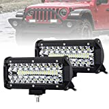 7 Inch Led Pods Spot Flood Combo Beam Liteway 16000 LM Triple Row Light Bar Off Road Driving Led Work Lights for UTV ATV Jeep Truck Boat Waterproof 2 Pack