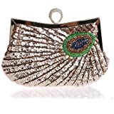 Latest Fashion Stylish Women Full Shining Sequins Beaded Rhinestone Peacock Embroidery Clutch Purse Handbag Evening Bag Hard Case