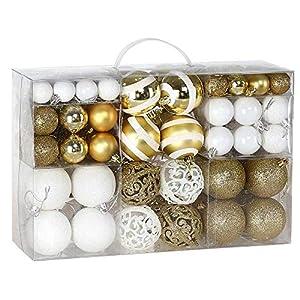 BAKAJI Confezione 100 Palline di Natale Diametro 3/4/6 cm Addobbi e Decorazioni per Albero di Natale (Bianco Oro) 9 spesavip