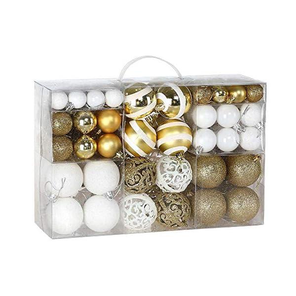 BAKAJI Confezione 100 Palline di Natale Diametro 3/4/6 cm Addobbi e Decorazioni per Albero di Natale (Bianco Oro) 1 spesavip